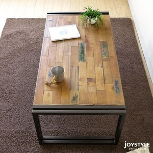 幅100cm オールドチーク材 木製 古材とアイアンを組み合わせた斬新でかっこいいリビングテーブル ローテーブル Sサイズ|joystyleinterior|05