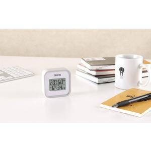 タニタ(Tanita) 温湿度計 デジタル グレー TT-558 GY 壁掛け 時計付き 卓上 マグ...