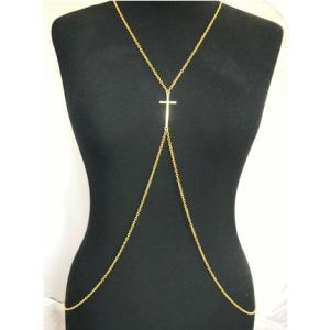 ボディチェーン ボディーネックレス ベリーチェーン Body Chain クロス 【レビューでメール便送料無料】 【1から2営業日出荷】【輸入品】|jplamp