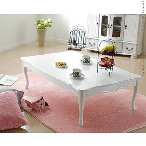 テーブル ローテーブル 折れ脚式猫脚テーブル〔リサナ〕120×75cm 折りたたみ 折り畳み 猫足 ホワイト 白 座卓|jplamp