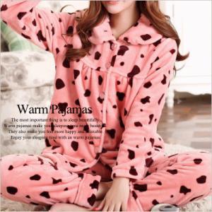 フリース素材 ピンクカウドット柄 長袖パジャマ 上下セット【納期2週間前後】【お取り寄せ品】|jplamp