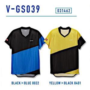 ビクタス 卓球 ウェア V-GS039 ゲームシャツ 男女兼用 ブラック×ブルー 031462-0022 <2019CON>|jpn-sports