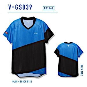 ビクタス 卓球 ウェア V-GS039 ゲームシャツ 男女兼用 ブルー×ブラック 031462-0122 <2019CON>|jpn-sports