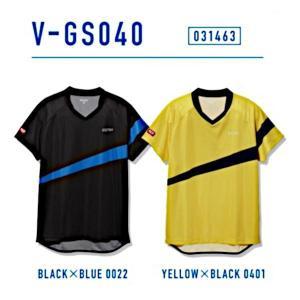 ビクタス 卓球 ウェア V-GS040 ゲームシャツ 男女兼用 ブラック×ブルー 031463-0022 <2019CON>|jpn-sports