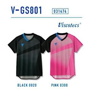 ビクタス 卓球 ウェア V-GS801 ゲームシャツ 男女兼用 ブラック 031474-0020 <2019CON> jpn-sports