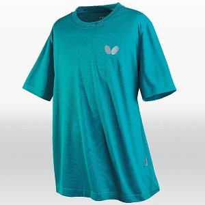 バタフライ 卓球 ウェア 男女兼用 ウィンロゴ・Tシャツ ターコイズブルー 45230-123 <2019CON>|jpn-sports