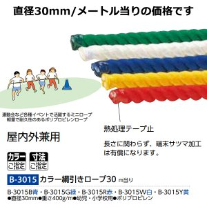 トーエイライト 学校 体育 運動会 体育祭 屋内外兼用 カラー綱引きロープ30 幼児・小学校用 B-3015 <2020CON>