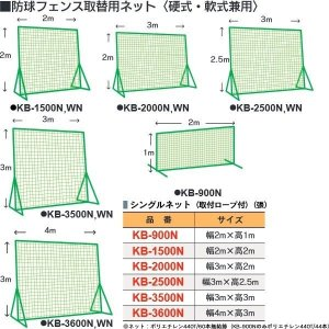 カネヤ 学校 部活 体育 野球 硬式・軟式兼用 取り替えネット2m×2m KB-1500N <2019NP>|jpn-sports