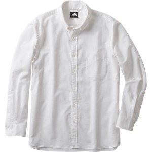 カンタベリー ラグビー ロングスリーブ ストレッチ ボタンダウン シャツ (メンズ/ビッグサイズ) ホワイト RA48614B-10 <2019SS>|jpn-sports