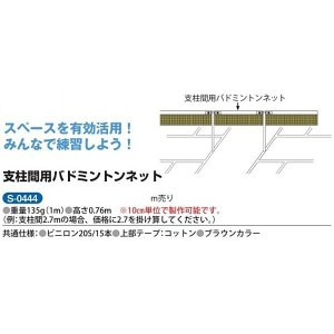 三和体育 支柱間用バドミントンネット ビニロン20S/15本 1m(10cm単位長さ指定可能、別途見積もり) S-0444 <2019CON>