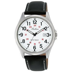[シチズン キューアンドキュー]CITIZEN Q&Q 腕時計 Falcon ファルコン アナログ 革ベルト 日付 表示 ホワイト D026-304|jpowerclub