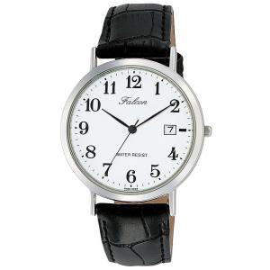 [シチズン キューアンドキュー]CITIZEN Q&Q 腕時計 Falcon ファルコン アナログ 革ベルト 日付 表示 ホワイト D020-304|jpowerclub