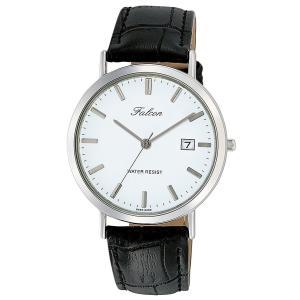 [シチズン キューアンドキュー]CITIZEN Q&Q 腕時計 Falcon ファルコン アナログ 革ベルト 日付 表示 ホワイト D020-301|jpowerclub