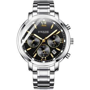 BesTn出品 腕時計 メンズ クオーツ 電池付き ストップウォッチ 日付 夜光 防水 ビジネスマン (ブラック)|jpowerclub