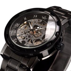 時計、機械式時計 メンズウォッチクラシックスタイルのメカニカルウォッチスケルトンステンレススチールタイムレスデザインメカニカルスチームパンク (ブラ|jpowerclub