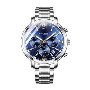 BesTn出品 腕時計 メンズ クオーツ 電池付き ストップウォッチ 日付 夜光 防水 ビジネスマン (ブルー)|jpowerclub