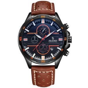 腕時計 メンズ腕時計 クラシック カジュアル ファッション レザーウォッチ リアルレザーストラップ カレンダー 防水 多機能 メンズクォーツ時計 (|jpowerclub