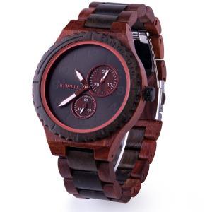 BEWELL 腕時計 木製 ウッドウォッチ メンズ 日本製クォーツ 日付表示 天然木 アナログ腕時計 大きい文字盤 男性用 誕生日 父の日 ギフト(|jpowerclub