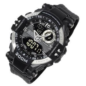 [ラドウェザー]腕時計 メンズ 200m防水 ミリタリー時計 アナログ & デジタル ウォッチ (シルバー)|jpowerclub