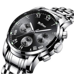 腕時計、メンズ腕時計、ラグジュアリークラシックステンレス腕時計ビジネスカジュアルウォッチメンズ防水マルチ機能クォーツ腕時計メンズ|jpowerclub