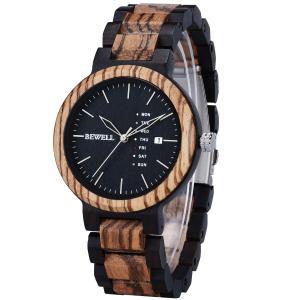 Bewell 腕時計 木製 メンズ 曜日 日付き アナログ腕時計 日本製クオーツ 天然木 ウッドウォッチ 贈り物 誕生日ギフト (黒檀とゼブラウッド|jpowerclub