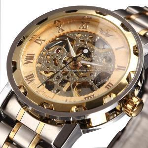 時計、機械式時計 メンズウォッチクラシックスタイルのメカニカルウォッチスケルトンステンレススチールタイムレスデザインメカニカルスチームパンク (シル|jpowerclub