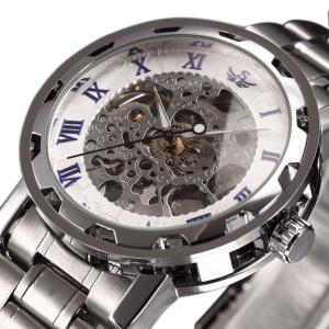 時計、機械式時計 メンズウォッチクラシックスタイルのメカニカルウォッチスケルトンステンレススチールタイムレスデザインメカニカルスチームパンク|jpowerclub