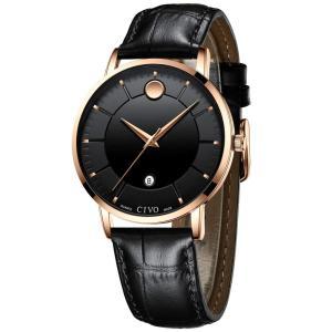 [チーヴォ]CIVO 腕時計メンズ 防水時計レザー アナログクオーツウオッチ薄型 シンプル男性腕時計本革 日付け おしゃれ ファッション ビジネス|jpowerclub