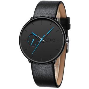 [チーヴォ]CIVO 腕時計メンズ 防水時計レザー アナログクオーツウオッチ薄型 シンプル男性腕時計本革 曜日付け おしゃれ ファッション ビジネス|jpowerclub
