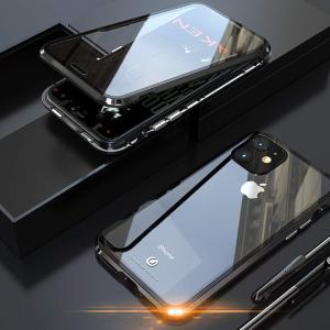 JCGOOD iPhone 11 pro ケース 表面と背面 透明 両面 強化ガラス 360°全面保護 マグネット式 アイフォン11 pro カバー|jpowerclub
