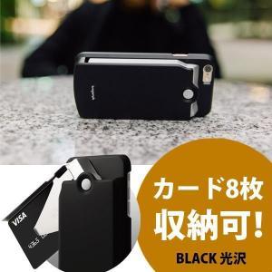 iPhone6 ケース カード収納 8枚 TheBank ブラック 光沢|jpt-teds