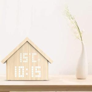 置時計 おしゃれ 北欧 木製 LED デジタル type House|jpt-teds