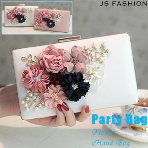 2色・ラブリーなモチーフフラワー・ボックス型ハードクラッチバッグ・パーティーバッグ・結婚式・二次会・謝恩会【JSファッション】 js-fashion