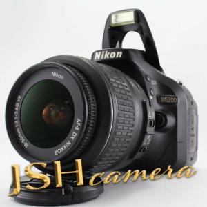 【中古】Nikon デジタル一眼レフカメラ D5200 レンズキット AF-S DX NIKKOR 18-55mm f/3.5-5.6G VR付属 ブラック D5200LKBK|jsh