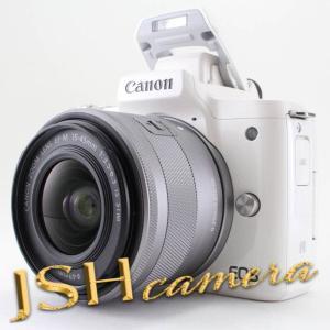 【中古】Canon ミラーレス一眼カメラ EOS Kiss M ホワイト レンズキット EF-M15-45 IS STM付属 EOSKISSMWH-1545ISSTMLK jsh