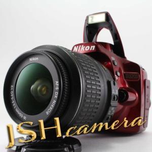 【中古】Nikon デジタル一眼レフカメラ D3200 レンズキット AF-S DX NIKKOR 18-55mm f/3.5-5.6G VR付属 レッド D3200LKRD|jsh
