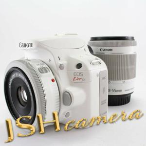 【中古】Canon デジタル一眼レフカメラ EOS Kiss X7(ホワイト) ダブルレンズキット2 EF-S18-55mm F3.5-5.6 IS STM(ホワイト) EF40mm F2.8 STM(ホワイト) 付属|jsh