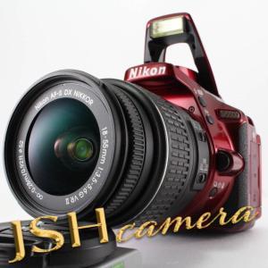 【中古】Nikon デジタル一眼レフカメラ D5500 18-55 VRII レンズキット レッド 2416万画素 3.2型液晶 タッチパネル D5500LK18-55RD|jsh
