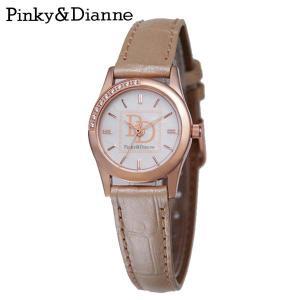 【Pinky&Dianne】人気のピンキー&ダイアン腕時計!文字盤にラインストーン・ベージュレザーベルトを使用した大人かわいいウォッチ! PD001PBE P&D jsj
