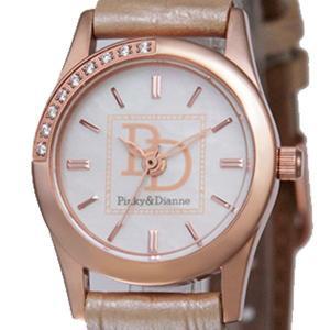 【Pinky&Dianne】人気のピンキー&ダイアン腕時計!文字盤にラインストーン・ベージュレザーベルトを使用した大人かわいいウォッチ! PD001PBE P&D jsj 02