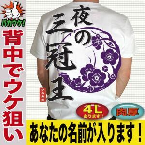 おもしろ 名言 ことわざ Tシャツ ユニセックス 漢字 おもしろ 名入れ ジョーク 宴会 景品  夜の三冠王|jstoreinter