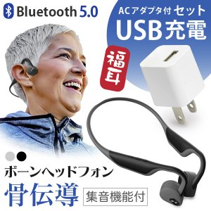 (予約受付中) ((USB充電器付)) ワイヤレス イヤホン型 集音器 骨伝導 福耳ボーンヘッドフォ...