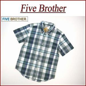 FIVE BROTHER ファイブブラザー マドラスチェック 半袖 ボタンダウンシャツ