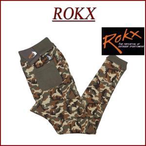 ROKX ロックス カモフラージュ ストレッチ ニット テーパード スリム リブパンツ RXMF57...