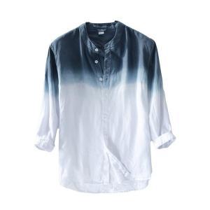 シャツ メンズ 長袖 グラデーションリ ネンシャツ 白シャツ カジュアル 通気性よい 目を引くグラデ...