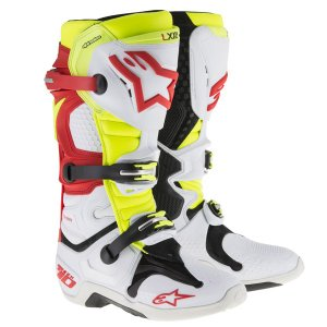 Alpinestars TECH10 BOOT オフロードブーツ  ホワイト/レッド/イエロー 新品  送料無料!|jubet-store