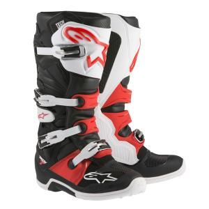 Alpinestars TECH7 オフロードブーツ ブラック/ホワイト/レッド 新品 送料無料!|jubet-store