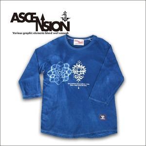 ASCENSION(アセンション) 七分袖Tシャツ【JAPAN BLUE(藍染め)MANDARA