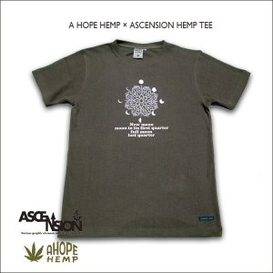A HOPE HEMP × ASCENSION HEMP TEE【Lunar phase/Lotus】 as-501|juice16