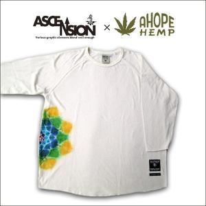 A HOPE HEMP(ホープヘンプ) × ASCENSION(アセンション) HEMP Raglan3/4 TEE【MANDARA/Lotus】as-512|juice16